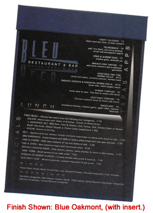 Magnetic menu board can have a top custom imprinted strip.