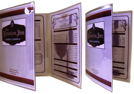 All clear vinyl menu covers are the lowest cost menu covers presentation you can buy.