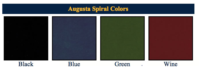 Augusta spirals menu covers available colors.