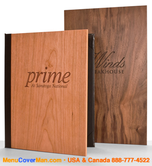 Authentic Wood Menu Covers - Only from MenuCoverMan.com!