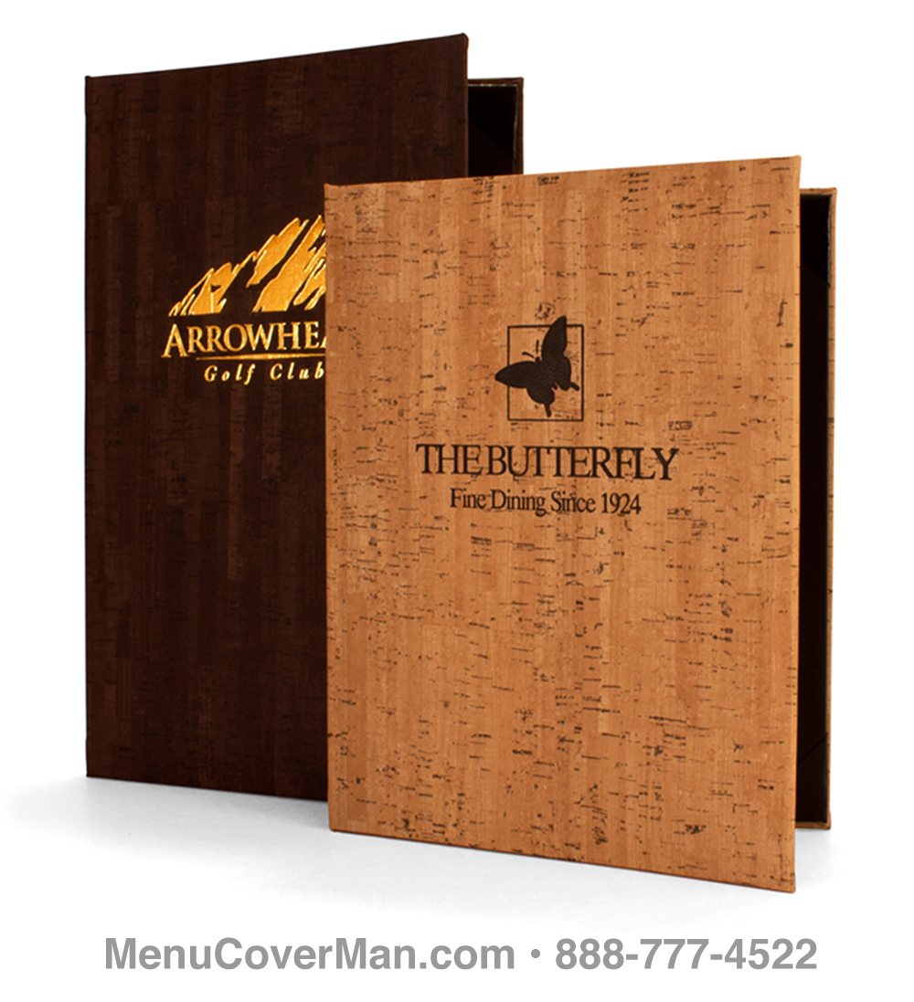 chianti faux cork menu covers • leather-like custom menu covers
