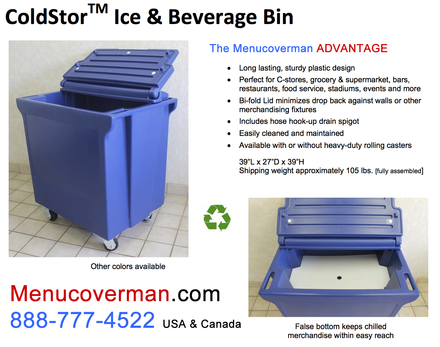 Cold Storage Heavy Duty Commercial Plastic Rolling Bin