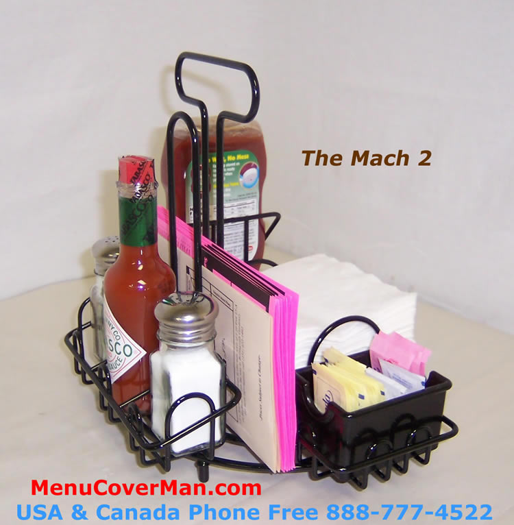 MACH Condiments Holder Menu Holder AllInOne Menucovermancom - Table top caddies for restaurants