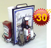 Wire menu and condiment holder.