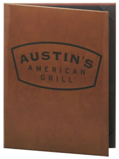 Genuine leather menu covers.