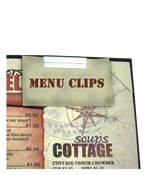 Menu clips make attaching specials quick and simple.