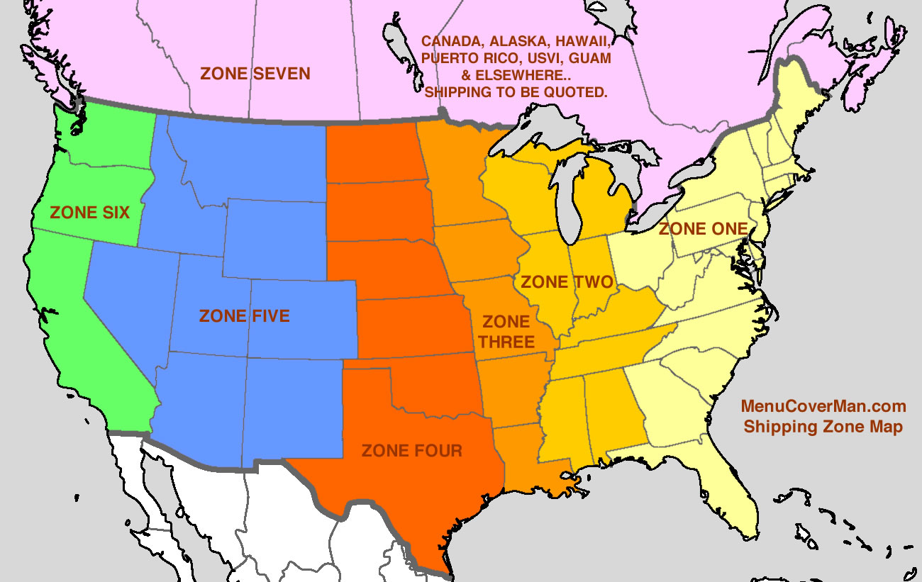 MenuCoverMan.com Shipping Zone Map