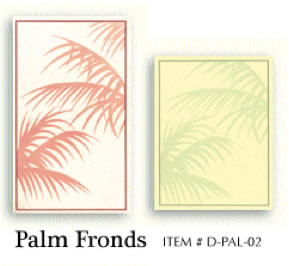 Palm fronds preprinted menu covers insert papers.