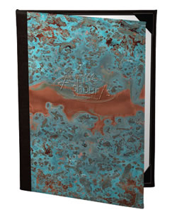Patina copper menu covers.