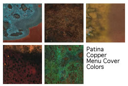 Patina genuine copper menu covers and their colors, from The Menucoverman.