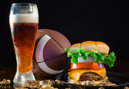 Pigskin, burger and brew complement the sports series placemats from Menucoverman.com
