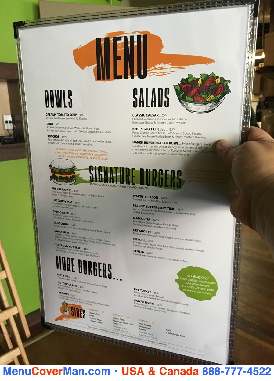 See through edge stitched menu covers.