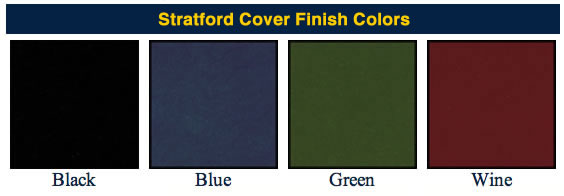 Stratford Brasserie finishes and swatches for Menucoverman.com menu frames, for your restaurant, catering operation, vineyard or eatery.