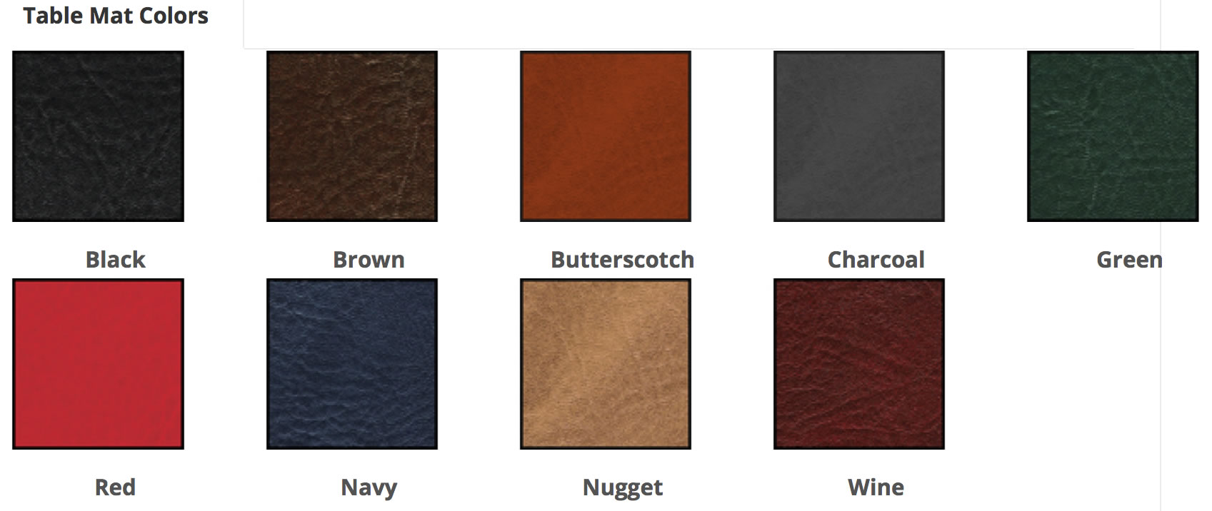 Color swatches for Country Club & Restaurant Table Mats.