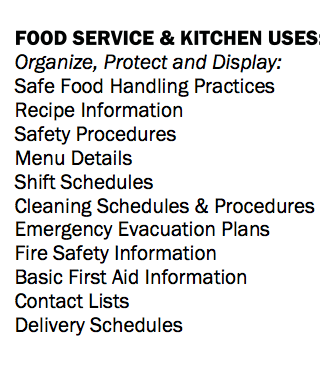 Tarifold Organizers food service and commercial kitchen uses.