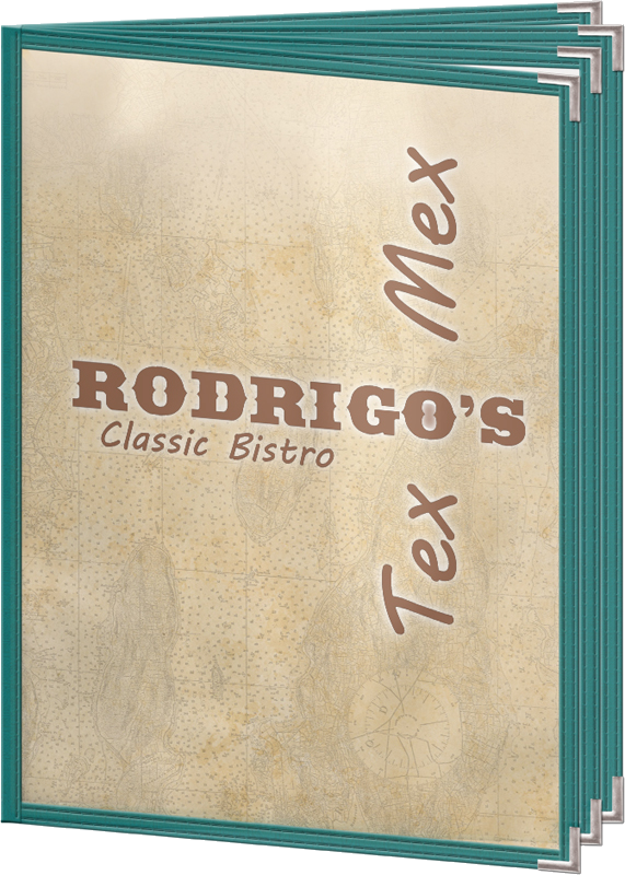 fiesta mexican tinted edge sewn double stitched cafe menu covers
