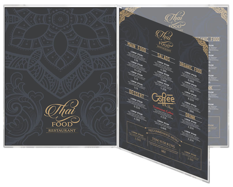 Triple panel all clear vinyl usa-made menucoverman.com menu covers for all restaurants.