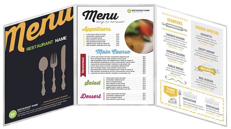 Three panel all clear menu covers vinyl fold-out style