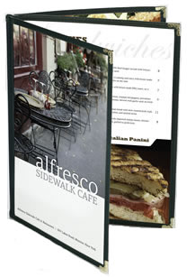 Triple pocket booklet style menu covers.